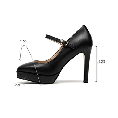 Frauen Pumps Closed Toe Plateau High Heel Schnalle Abend Hochzeit Court Schuhe (Schwarz Beige) Black
