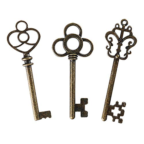 Mixed Set of 30 Large Skeleton Keys with Antique Style Bronze Brass Skeleton Castle Dungeon Pirate Keys for Birthday Party Favors, Mini Treasure Toy Gifts, Medieval Middle Ages Theme