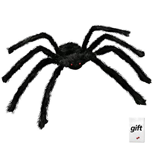 50 Inch/125CM Scary Giant Black Spider Halloween Spooky Fake Spider Plush Toy For Halloween Party Decoration Haunted House Props Prank Trick, Plus A Pair of Spider Eyes For Free