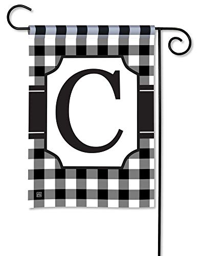 Monogram Alabama - BreezeArt Studio M Black & White Check Monogram C Decorative Garden Flag – Premium Quality, 12.5 x 18 Inches