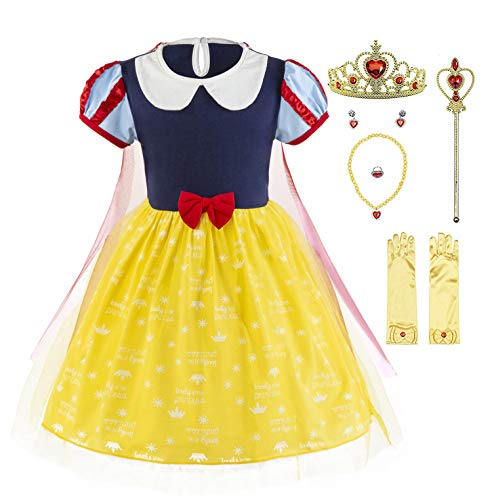 Padete Baby Girl Princess Anna Alice Elsa Little Mermaid Snow White Dress Costume (5, SnowWhite with Accessories)]()
