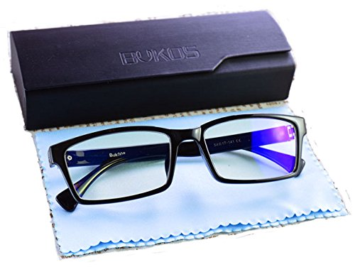 Blue Light Blocking Glasses by Bukos -- Unisex - FDA Approved - Sleep Better - Reduce eyestrain - LED Grow Light protection - Computer Glasses - Gaming - - Sunglasses Melatonin