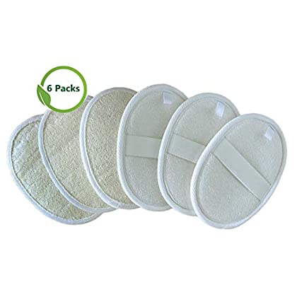 6 Packs Exfoliating Loofah Pads,100% Natural Loofah Sponge Scrubber Brush Close Skin for Men and Women,Perfect for Bath Spa and Shower (6 pack) (6 Pack)