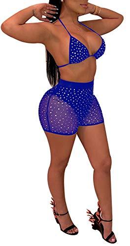 Womens Sequins Bikini Bathing Suits - Sexy Glitter Rhinestone See Through 2 Pieces Swimwear Bra + Short Pants Blue]()