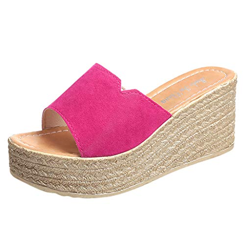 ◕‿◕Watere◕‿◕ Fashion Women Peep Toe Suede Beach Sandals Rome Slip-On Casual Wedges Shoes Indoor Outdoor Hot Pink ()