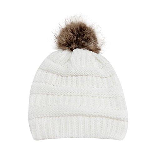 PASATO Sale!Women Winter Warm Crochet Knit Faux Fur Pom Pom Beanie Hat Cap hat for Women Winter Fashion(White,Free Size)