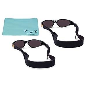Croakies Kids Neoprene Eyewear Retainer | Sunglass Strap | Eyeglass & Sunglasses Holder | Great for Children | Lightweight Floating Band | 3 Piece Bundle with Koala Kloth - Black