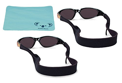 Croakies Kids Neoprene Eyewear Retainer Childrens Glasses Strap | Eyeglass and Sunglass Holder | Boys and Girls Sports Use | 2pk Bundle + Cloth, Black