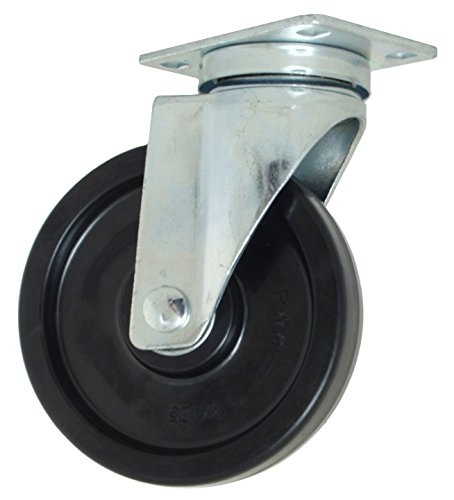 "RWM Casters VersaTrac 27 Series Plate Caster, Swivel, Phenolic Wheel, Ball Bearing, 300 lbs Capacity, 5"" Wheel Dia, 1-1/4"" Wheel Width, 6-5/16"" Mount Height, 3-3/4"" Plate Length, 2-5/8"" Plate Width from RWM Casters"
