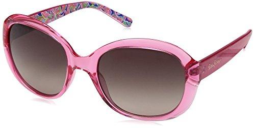 Lilly Pulitzer Women's Magnolia Polarized Round Sunglasses, Crystal Pink/Banana Flambe, 57 - Custom Sunglasses Print