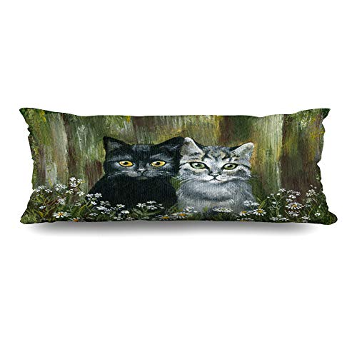 (DIYCow Body Pillows Covers Spring Funny Cat Fairytale Pet Wildlife Painting Paws Cushion Case Pillowcase Home Sofa Couch Rectangular Size 20 x 60 Inches)