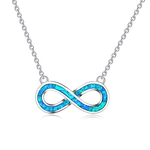 Fire Pendant White Opal - MissNity Infinity Pendant Necklace for Women Girls in Fire Opal Forever Love White Gold Plated (Blue Created Opal)