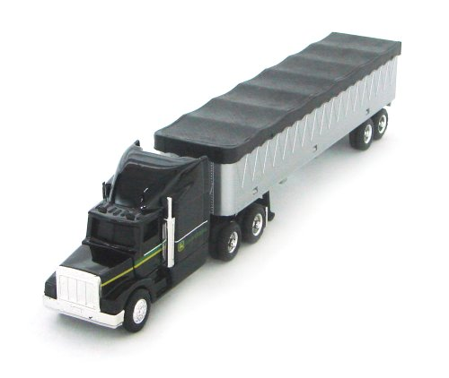 Diecast Tractor Trailer Trucks - Ertl John Deere With Grain Trailer, 1:64 Scale