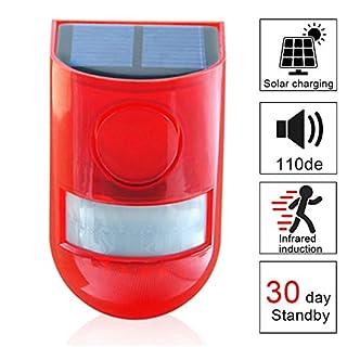 Solar Security Light Alarm,4 Pack IP65 Waterproof PIR LED Motion Sensor Flashing Light Lamp,Built in Battery,Energy Saving Warning 110dB Loud Siren Solar Light for Home Flashing Outdoor