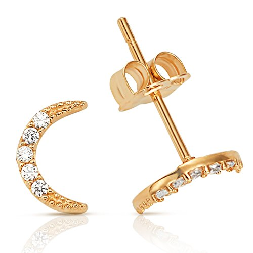 (Thin Crescent Moon CZ Stud Earrings in 14K Yellow Gold )