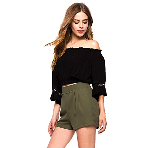 Yoyorule Women Loose Top Full Sleeve Lace Blouse Casual Tops T-Shirt (M, Black)