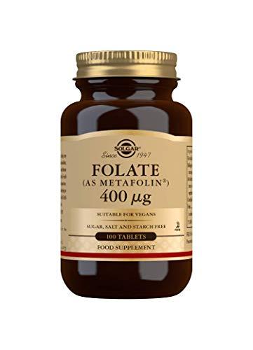 Solgar Folate 666 mcg DFE (Metafolin 400 mcg), Non-GMO, Suitable for Vegans, 100 Tablets