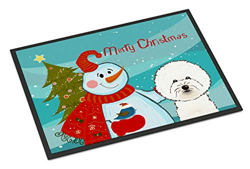 (Caroline's Treasures Snowman with Bichon Frise Indoor or Outdoor Mat, 24 by 36