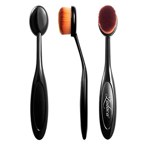 Zodaca Small Oval Makeup Brush Toothbrush For Cosmetic Foundation Cream Powder Makeup Tool, Black/Brown