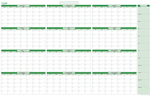 Earth Green Yearly Undated Horizontal Dry-erasable wall planner. January - December - Extra Memo Area Listed. 24 in. tall X 36 in. wide