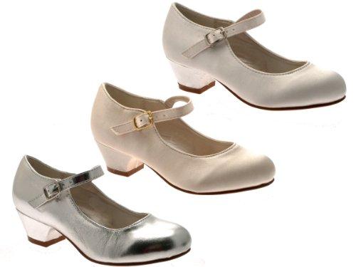 Kinder/Mädchen Pumps - Mary Jane-Spangenschuhe - Satin - Kleiner Absatz Silberfarben