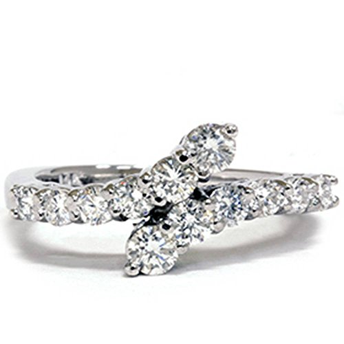 Journey Diamond Fashion Ring - 3/4ct Diamond Journey Bypass Right Hand White Gold Ring - Size 6