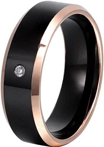 8mm Beveled Tungsten Carbide Rings with Cubic Zirconia Stone Inlaid and Rose Gold Edges Men's Women's Tungsten Wedding Bands Promise Rings Engagement Rings Anniversary Rings for Couples
