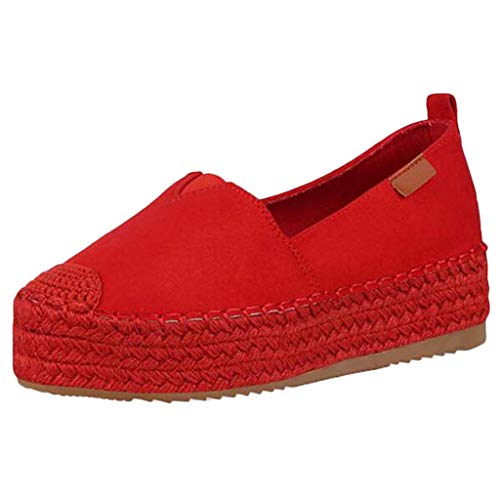 Meigeanfang Shoes for Women Comfort Round Toe Wild Women Espadrilles Casual Shoes(Red,37)