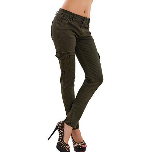 Toocool Donna Militare Pantaloni Elasticizzati Df9976 Cargo Skinny Aderenti Verde Jeans Tasche Nuovi xCxr7w45