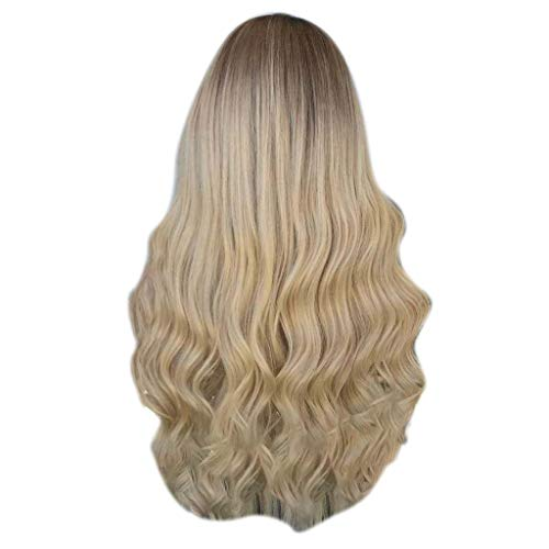 Iusun Wigs,60CM Gradient Women's Long Curly Wavy Lace Front Resistant Synthetic Extensions Cosplay Costume Daily Party Anime Hair Full Wig High Temperature Fiber (A) ()