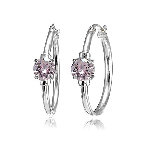 Sterling Silver Pink Round Solitaire 25mm Hoop Earrings Made with Swarovski Crystals