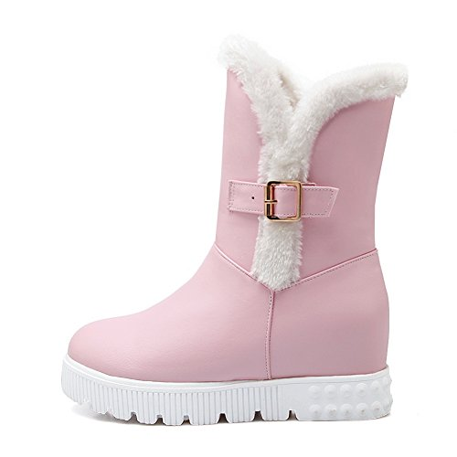 A&N Ladies Heighten Inside Platform Buckle Non-Slipping Sole Imitated Leather Boots Pink U0S88JsqC