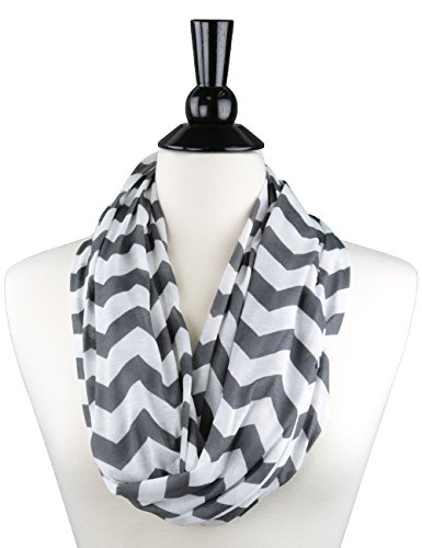 womens-chevron-patterned-infinity-scarf-with-zipper-pocket-gray