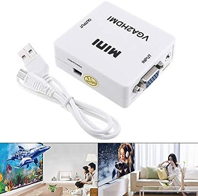 Conversor HD VGA a HDMI con Cabezal de conversión de 1080P Compatible con proyector de TV Conectado con Audio: Amazon.es: Electrónica