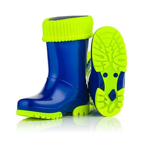 KREXUS Kinder Gummistiefel gefüttert Regenstiefel - Viele Motive (Tiere) Fluo Blau