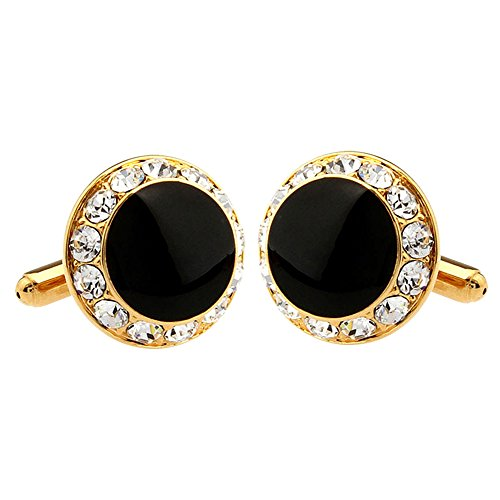 - Luxury Exquisite Gold Round Black Rhinestone Crystal Cufflinks Men's Bullet Daily Use Fashion Cufflinks