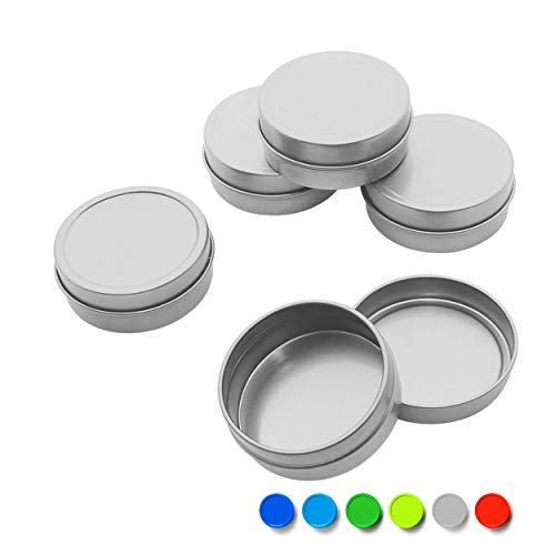 (Mimi Pack 1 oz Shallow Round Metal Tin Can Empty Slip Top Lid Steel Containers For Cosmetics, Favors, Spices, Balms, Gels, Candles, Gifts, Storage 24 Pack (Gray))