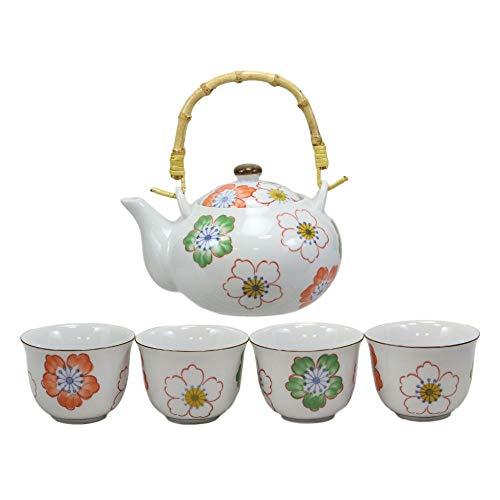 inilodining Japanese Design Colorful Botanic Floral Porcelain White Tea Pot and Cups Set F3 ()