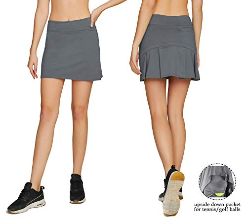 Cityoung Women's Casual Pleated Golf Skirt with Underneath Shorts Running Skorts s ()