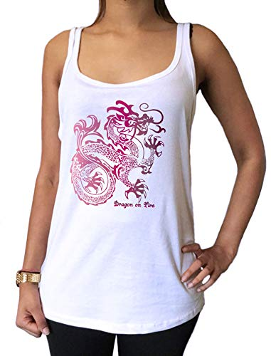 Jersey Tank Top Oriental Dragon on Fire Graphical Print - Oriental Print Top Dragon