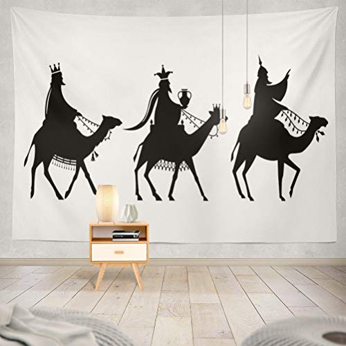 (threetothree 80x60 Inches Tapestry Wall Hanging Interior Decorative Way Jesus Nativity Christmas Men Religious Wise Bible Birth Christian for Bedroom Living Room Tablecloth Dorm)