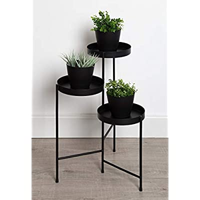 Kate and Laurel Finn Tri-Level Metal Plant Stand, Black: Kitchen & Dining
