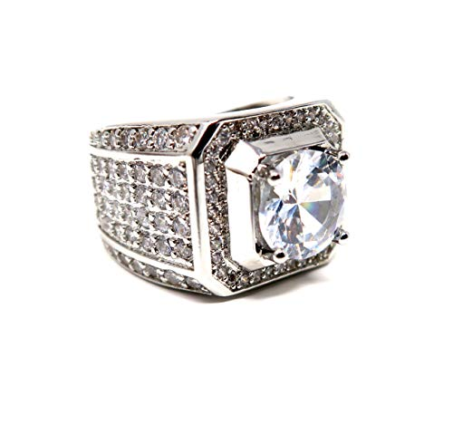 Hollywood Jewelry Iced Out Men's Ring Hip Hop White Cubic Zirconia (CZ) Stones, Platinum Plated. Holiday Christmas Collection (Size 10) ()