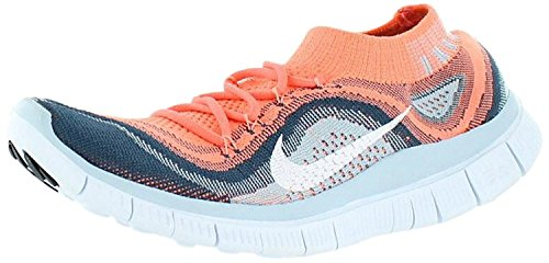 Nike Free Flyknit + Womens Running Shoes, Rosa acceso/Bianco/Blu Navy, 36 unknown EU/3 unknown UK
