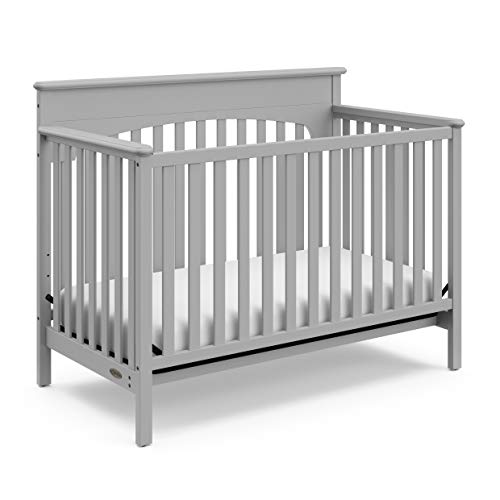 Graco Lauren Convertible Crib, Pebble Gray, Easily Converts to Toddler Bed Day Bed or Full Bed, Three Position Adjustable Height Mattress, Some Assembly Required (Mattress Not Included)
