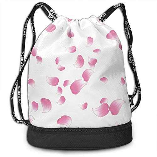 OHMYCOLOR Bundle Backpacks Pink Floral Cherry Blossoms Gym Sack Womens Mens Drawstring Bags Casual Daypack Yoga Bag Training Pouch for Yoga Cycling Running Sports Hiking