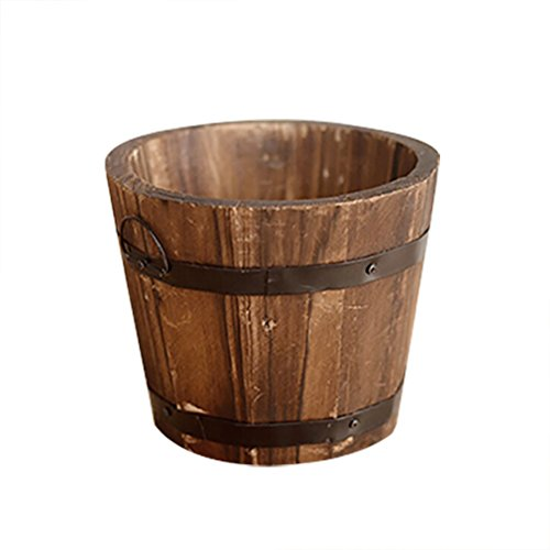 SNNplapla Indoor/Outdoor Wood Whisky Barrel Planter Gardeb Flower Vegetable Pot - Round Top - Wood Pot