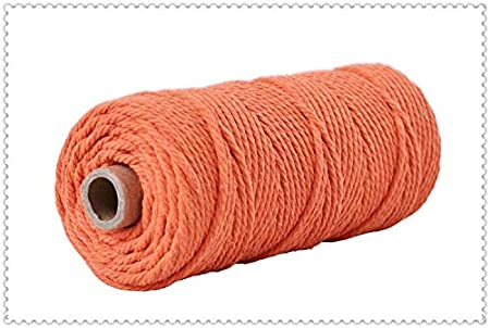 3mm 100/% Cotton Cord Colorful Cord Rope Beige Twisted Craft Macrame String DIY Home Textile Wedding Decorative Supply 110 Yards 1- White About 100m