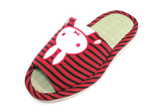 KW3102T- Bamboo Tatami Indoor House Slippers with Bunny Available Four Sizes in Variety Colors (S, RED)