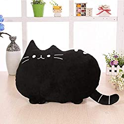 Kids Cat Animal Toys Gift Plush Cat Animal Baby Doll, Fat Plush Cat, Very Soft Big Cartoon Cat Pillow Back (Black)